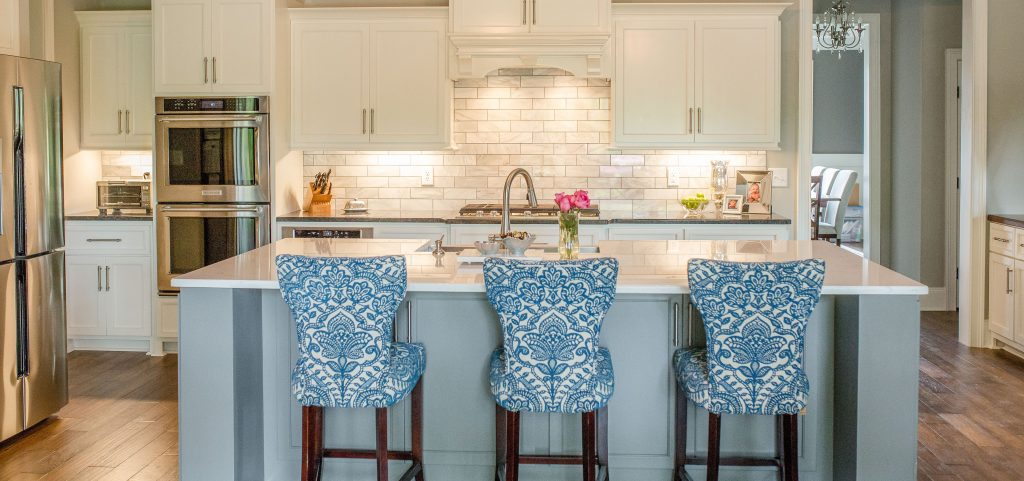 Custom Painted Kitchen with Oversized Painted Island in Different Color