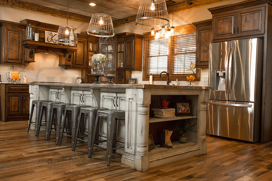 Rustic Kitchen with Stain Perimeter and Painted Island